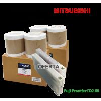 Oferta especial FUJI DX100 - 2 cx Paper Glossy 15.2cm 4 rolls + 2 tinteiros de 200ml