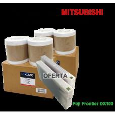 Oferta especial FUJI DX100 - 2 cx Paper Lustre 15.2cm 4 rolls + 2 tinteiros de 200ml